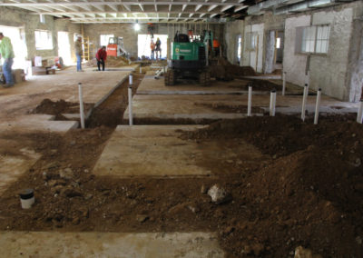 These trenches hold new plumbing and utilities